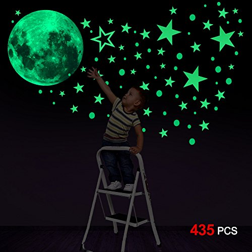 Glow In The Dark Stickers(435pcs), Konsait Luminous Moon Dots Stars Wall Ceiling Decal Murals for Nursery Baby Girl Boy Kids or Relaxing Ambience for Adults Home Bedroom Living Room Decoration -