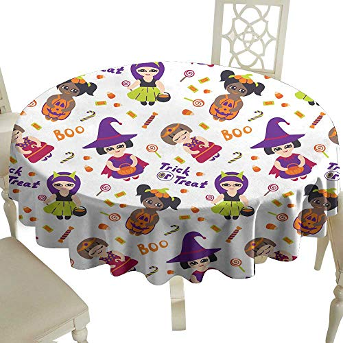 WinfreyDecor Fabric Dust-Proof Table Cover Halloween Vector Seamless Pattern with Kids in Costumes for Kitchen Dinning Tabletop Decoration D51