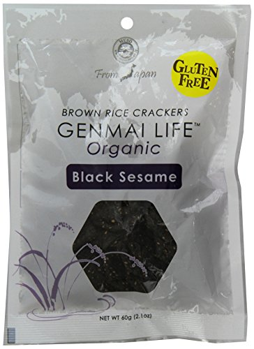 Muso From Japan Genmai Life, Organic Brown Rice Crackers, Black Sesame with Tamari, 2.1 Ounce