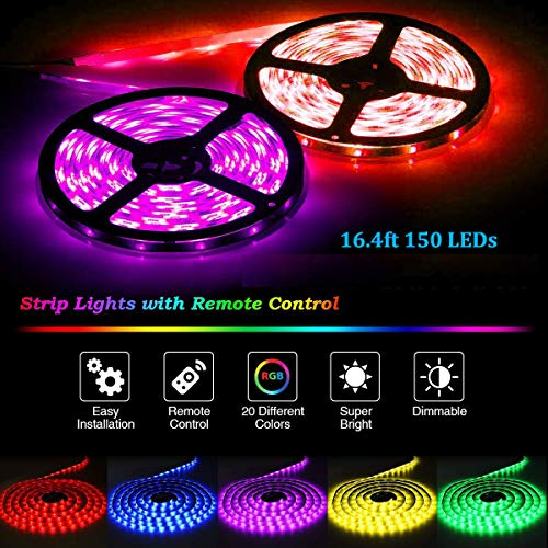 32.8ft/10M LED Strip Light RGB AveyLum Flexible Tape Lights 5050 SMD 300 LEDs Waterproof IP65 Rope Light with 44 Keys Wireless Controller and 12V Power Adapter for Home Kitchen Party TV Deco