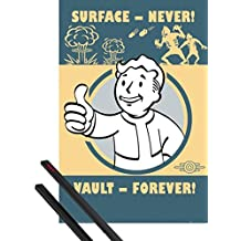 Poster + Hanger: Fallout Poster (36x24 inches) 4, Vault Forever And 1 Set Of Black 1art1® Poster Hangers