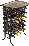 Sorbus Wine Rack Stand Bordeaux Chateau Style with Glass Table Top - Holds 30 Bottles of Your Favorite Wine - Elegant Looking French Style Wine Rack to Compliment Any Space - (Wine Stand - 30 Bottles)