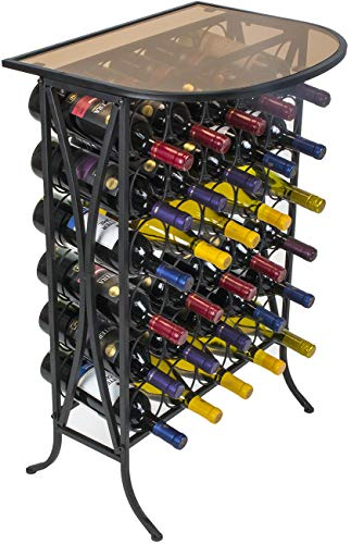 Sorbus Wine Rack Stand Bordeaux Chateau Style with Glass Table Top – Holds 30 Bottles of Your Favorite Wine – Elegant Looking French Style Wine Rack to Compliment Any Space (Wine Stand – 30 Bottles)