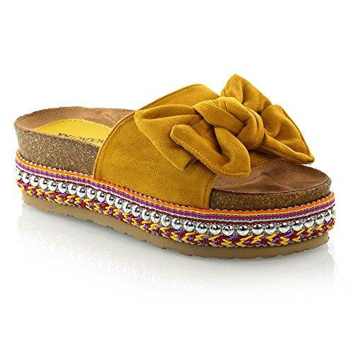 ESSEX GLAM Womens Flatform Shoes Ladies Bow Wedge Heel Pearl Studded Platform Sandals (8 B(M) US, Mustard Faux Suede)