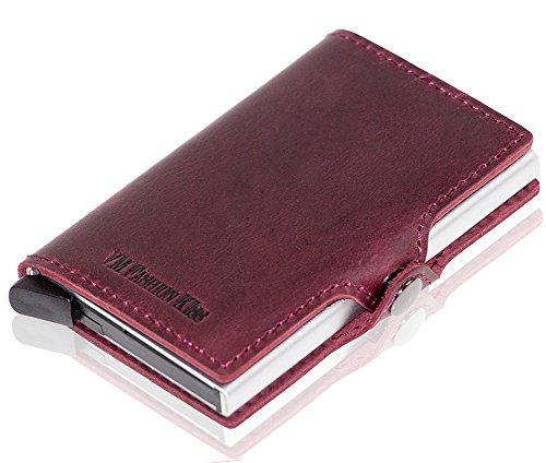Scan Card Leather RFID Red Unisex Card Horse Wine Case Anti Wallet Credit Safe Mini Crazy 7w6qq14fHF