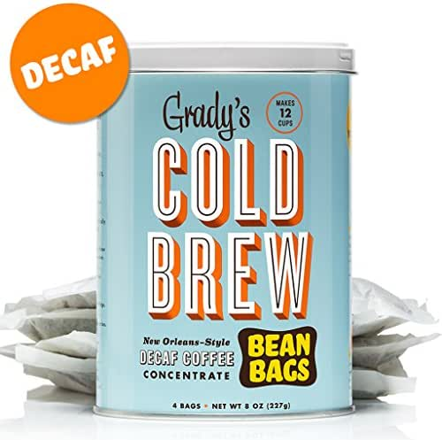 Grady's New Orleans Style Decaf Cold Brew Coffee, 4 Bean Bags (2 Cans)