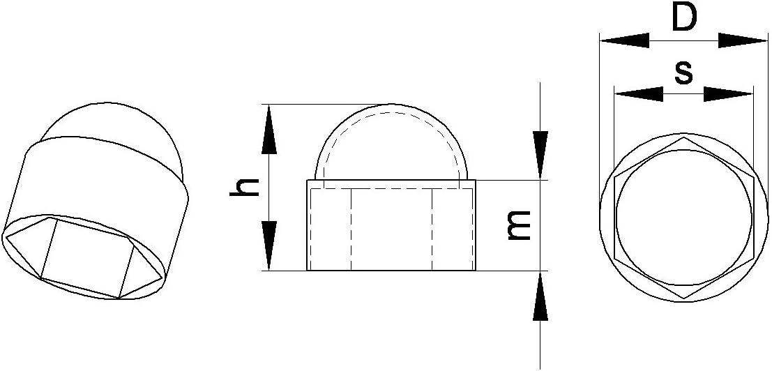 plastique BLANC ajile Cache vis /écrou de protection M6 clef de 10 mm 20 pi/èces FAH210