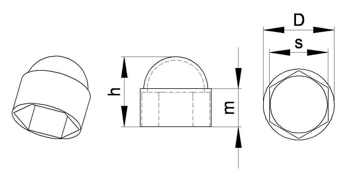 pl/ástico GRIS 100 piezas FAH310-L capsula protectora para tuercas M6 10 mm Ajile Tapa encajada abombada para pernos y tuercas