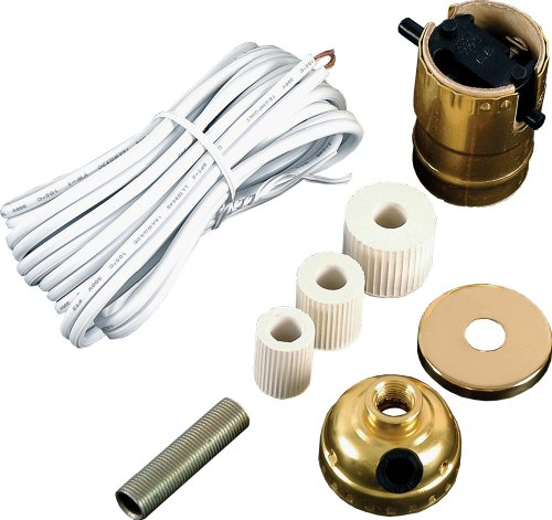 GE Bottle Lamp Kit, Extra Long 8 Ft White Power Cord, DIY Lamp Wiring Parts, 250VAC, 250W, UL Listed, - Lamp Hardware Kit