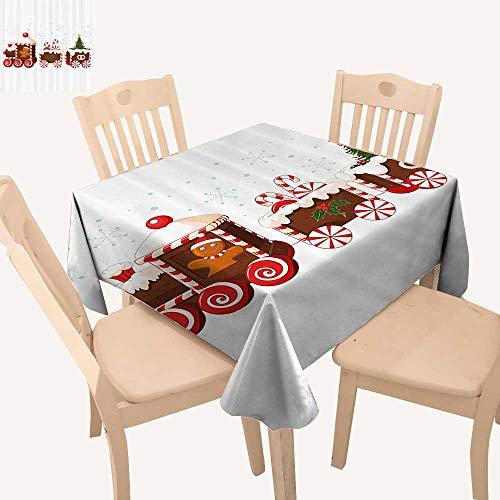 UHOO2018 Solid Tablecloth Train Made of Gingerbread Cream and Candy Carto Toys Snowflakes Gifts Presents Square/Rectangle Spillproof Fabric Tablecloth,52x 52 inch
