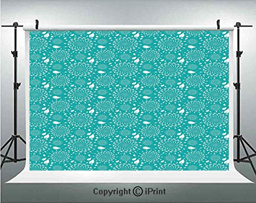 (Turquoise Photography Backdrops Blossoming Nature Theme Swirls Vortex Leaves Stalks and Dots Vintage Pattern Decorative,Birthday Party Background Customized Microfiber Photo Studio Props,10x6.5ft,Turq)