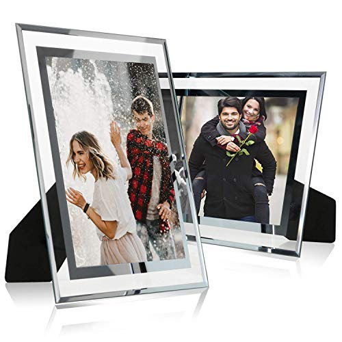 Cq acrylic 4x6 Glass Picture Frame,Silver Mirrored for Photo Display Stand on Tabletop,Pack of 2