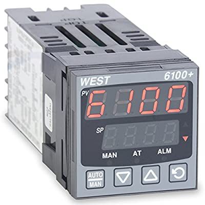 West P6101Z2100002 6100+ Series 1/16 DIN Temperature Controller, 100 to 240 VAC, One Relay Output, Red Upper/Green Lower Display