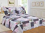 All for You 3-piece Reversible Bedspread/ Coverlet / Quilt Set-, pink, burgundy, blue,navy and green Patchwork prints (Larger King with King Size pillow shams)