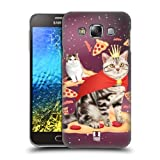 Head Case Designs American And Exotic Shorthair Pizza Trip Real Cats In Artificial Space Hard Back Case Cover for Samsung Galaxy E7