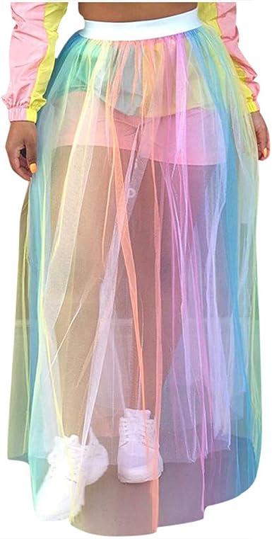 Gusspower Falda Bohemia Larga De Cintura Alta para Mujer Moda Sexy ...
