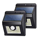 Solar lights 30 LED Silver Coated, Solar Motion sensor lights Outdoor Wireless Waterproof Security lights, Wall Night lights for Home, Driveway, Patio, Deck, Yard, Garden, Auto on/off (2-pack)