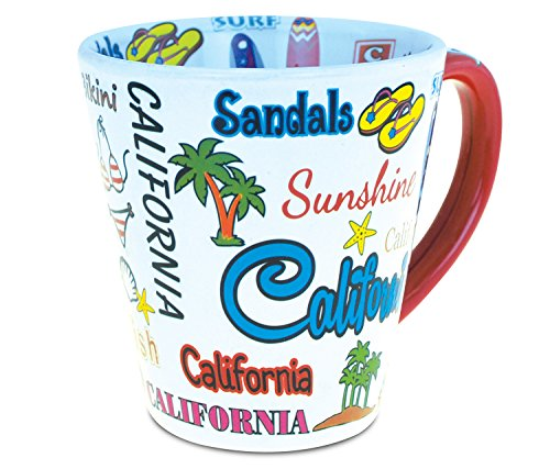 CoTa Global California Style Latte Mug Famous Sites California Tumbler Glassware Travel Cup with Handle Dishwasher Microwave Safe Drinkware 12 Ounce