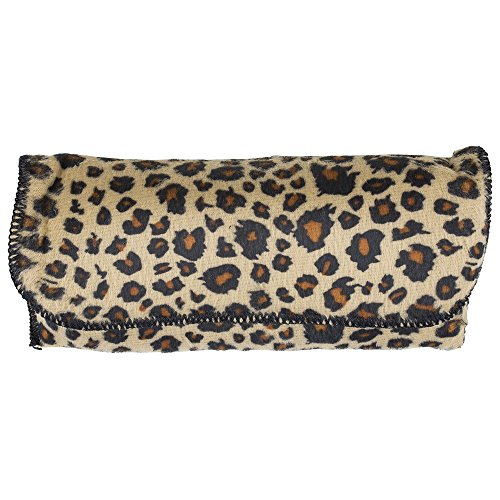 Large Stylish Glasses Case - Brown Felt Leopard Print Semi Hard Protective Holder Pouch for Readers, Sunglasses and Eyeglasses with Front Snap Closure - by - Eyeglasses Print Frames Leopard