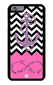 iZERCASE iPhone 6 PLUS Case Live the Life You Love, Love the Life You Live. Pink Black and White Chevron with Anchor RUBBER CASE - Fits iPhone 6 PLUS T-Mobile, Verizon, AT&T, Sprint and International