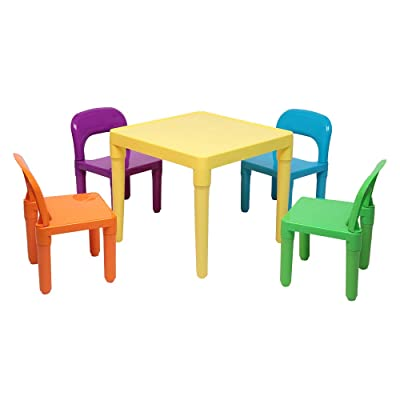 Kids Plastic Table and 4 Chairs Set - Little Kid Children Furniture Accessories - Plastic Desk & Chairs: Kitchen & Dining