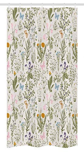 Ambesonne Floral Stall Shower Curtain, Vintage Garden Plants with Herbs Flowers Botanical Classic Design, Fabric Bathroom Decor Set with Hooks, 36 X 72, Pink Blue