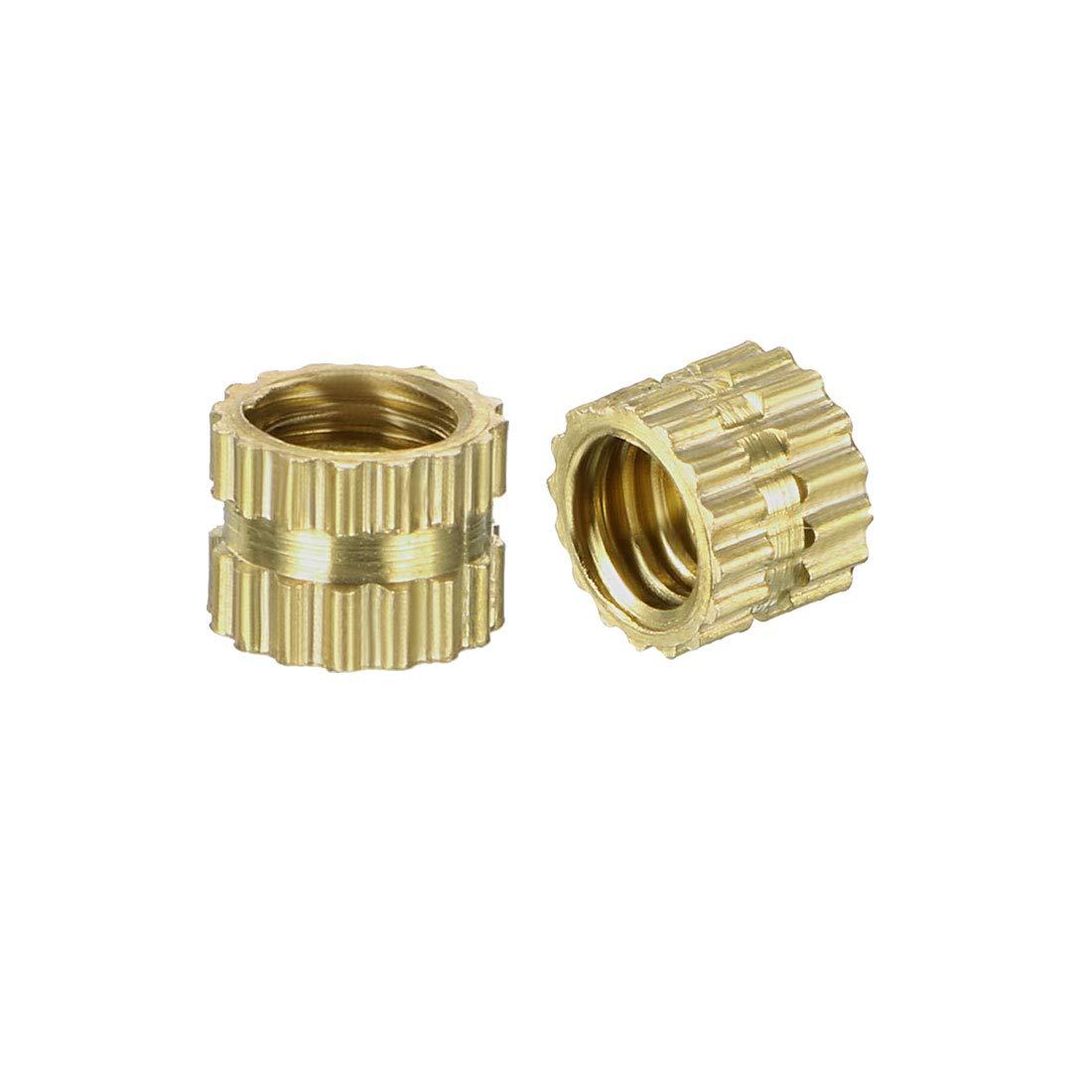 Pack of 100 x 8.5mm OD M6 x 12mm Female Thread Brass Embedment Nuts L uxcell Knurled Threaded Insert