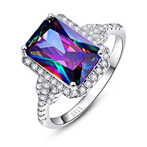 - Merthus Womens 925 Sterling Silver Created Mystic Rainbow Topaz Halo Engagement Ring
