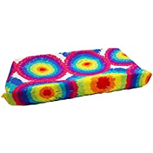 One Grace Place Terrific Tie Dye Changing Pad Cover, Aqua Blue, Royal Blue, Purple, Yellow, Green, Orange, Pink, Red and White