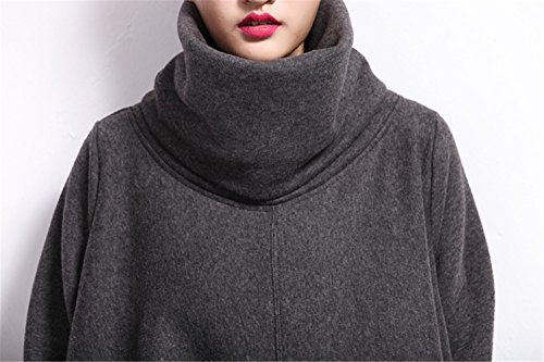 Très Chic Mayo Landa Mujer Asimétrico Risch manga larga Jersey Sweater Poncho con cuello S M gris