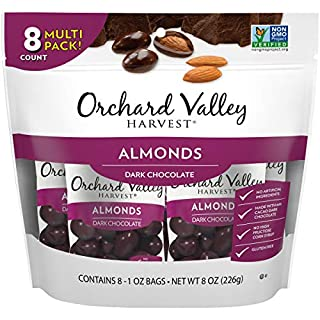 ORCHARD VALLEY HARVEST Dark Chocolate Almonds, 1 oz (Pack of 8)