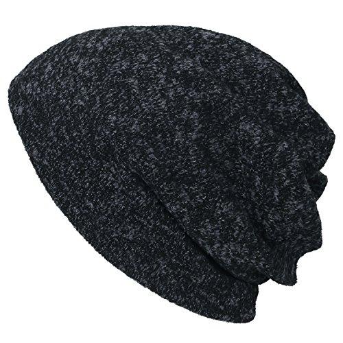 Neck Melange ililily Beanie Cap Soft Faux Dark Fur Grey Short Snood Skull Color Hat vpqw1fxpC