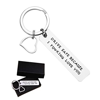 Drive Safe Keychain Pendant,Because I Love You Trucker Husband Gift for Dad  Father's Day Birthday Gifts Stocking Stuffer Boyfriend Girlfriend Gift