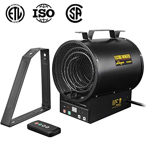 PROWARM Electrical Forced Air Industrial Fan Heater 240V Shop Garage 2400/4800W Heater with Remote Control and Bracket Portable PROWARM