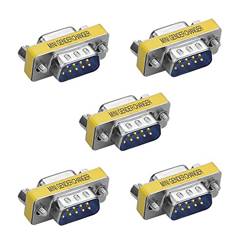 SIENOC 5 Packs 9 Pin RS-232 Serial DB9 Connector Male to Female Cable Gender Changer Coupler Adapter -