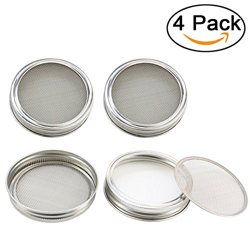 Orgrimmar Stainless Steel Sprouting Lids CURVED Mesh Jar Lid Kit for Superb Ventilation! – Use Wide Mouth Mason Jars Canning Jars for making organic sprout seeds in your house/kitchen (silver, 4)