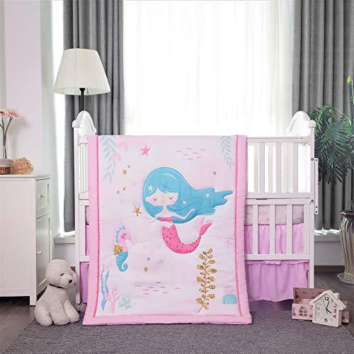 La Premura Mermaid Baby Nursery Crib Bedding Sets for Girls – Happy Mermaid & Seahorse 3 Piece Standard Size Ocean Theme Crib Set in Pink, White & Green