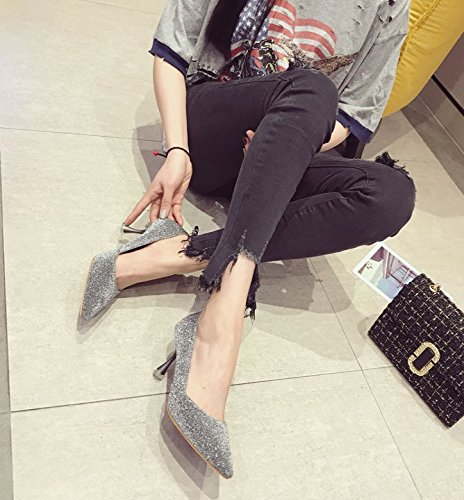Match Point All Silver Lady Shoes Leisure MDRW Spring With Heels 39 Elegant A Fine Fashion 7Cm Work Shoes Sequins qZYXBX4wx