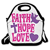 Faith Hope Love Lunch Tote Bag - Large & Thick Insulated Tote - Suit For Men Women Kids
