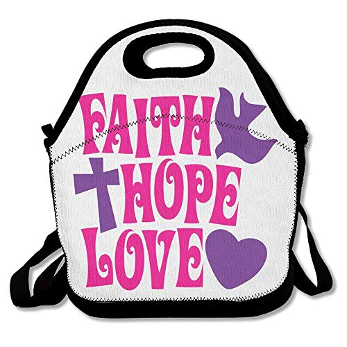 Faith Hope Love Lunch Tote Bag - Large & Thick Insulated Tote - Suit For Men Women Kids by matthewwei