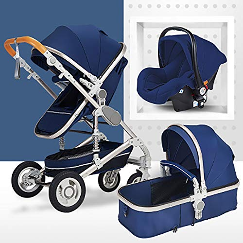 JIAX Pram Travel System 3 in 1, Adjustable High View Pram, Umbrella Stroller Travel System with Baby Basket and Anti-Shock Springs,Infant Carriage Pushchair (Black) (Color : Blue)