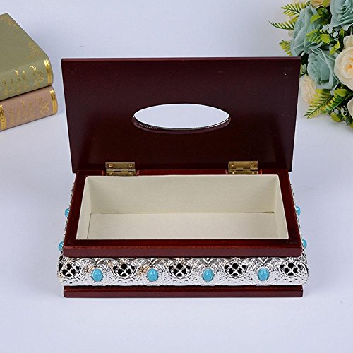 Retro Wooden Tissue Box Holder Cover for Home Office Car Decor , silver , 14.5x25.5x10cm by YANXH home (Image #2)