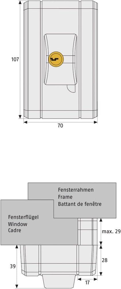 ABUS Automatisch verschlie/ßendes Fenster-Zusatzschloss FTS99 B braun AL0125 gleichschlie/ßend 31748