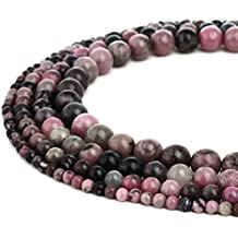 RUBYCA Wholesale Natural Rhodonite Gemstone Round Loose Beads for Jewelry Making 1 Strand - 8mm