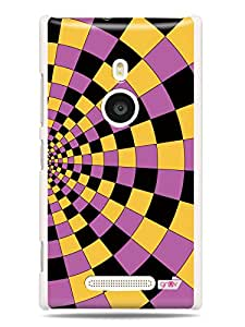 GRÜV Premium Case - 'Awesome Optical Illusion : Circles Checkered Pattern Purple & Black' Design - Best Quality Designer Print on White Hard Cover - for Nokia Lumia 925