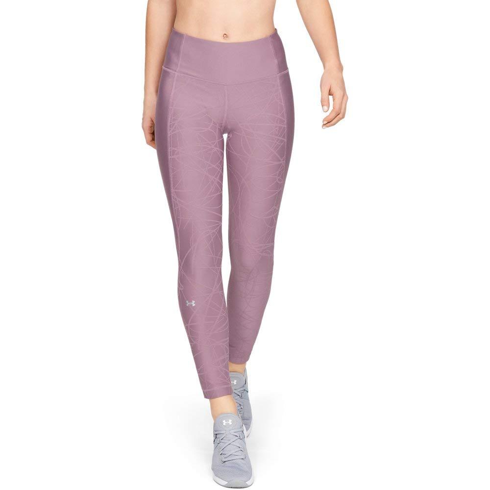 Under Armour Women's HeatGear Armour Ankle Crop Jacquard, Purple Prime (521)/Metallic Silver, Small