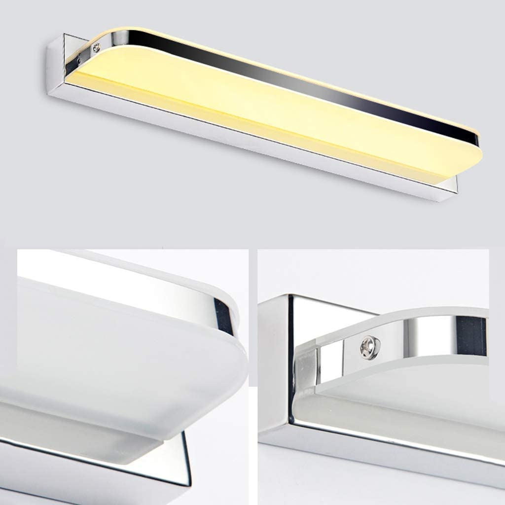 LSN Llevado del espejo luz delantera, faros LED Espejo - Vestir la lámpara del cuarto de baño impermeable lámpara de pared de armario con espejo,Luz caliente-62cm-14w Luz Caliente-52cm-12w