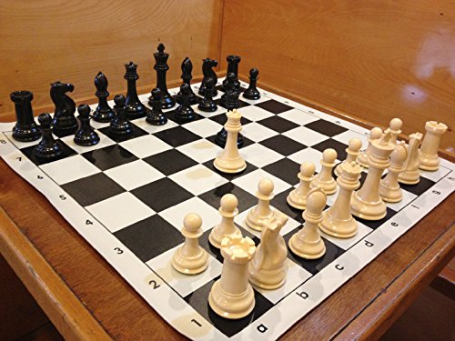 Quadruple Weight Tournament Chess Game Set - Chess Board Game with Natural Chess Pieces, Black Vinyl Board and Chess Strategy Guide