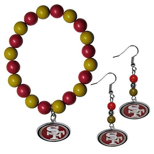 NFL San Francisco 49Ers Fan Bead Earrings & Bracelet Set