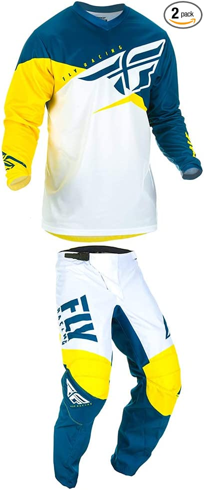 Fly 372-91310 Racing 2019 F-16 Motocross Gloves L Yellow White Navy 10
